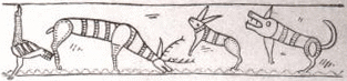 ※古代ゲルマンの壺の上に描かれた犬を伴う鹿猟の図(ベルリン民族学博物館所蔵)